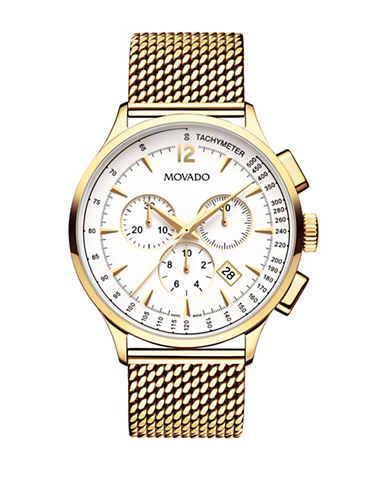 Movado Chronograph Circa Yellow Gold PVD Stainless Steel Mesh Bracelet Watch-GOLD-One Size