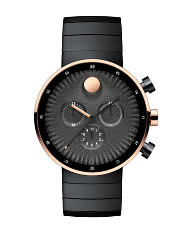 Movado Chronograph Edge Two-Tone Bracelet Watch-BLACK-One Size