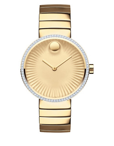 Movado Analog Edge Goldtone 0.4 TCW Diamond Bracelet Watch-GOLD-One Size