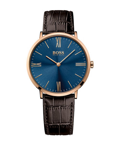 Boss Analog Jackson Goldtone and Leather Strap Watch-BLUE-One Size