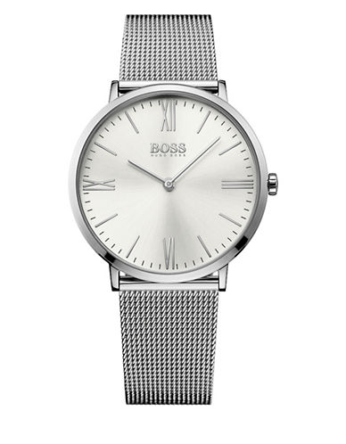 Boss Analog Jackson Stainless Steel Mesh Bracelet Watch-SILVER-One Size