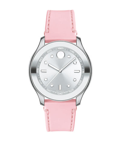 Movado Bold Bold Stainless Steel and Pink Silicone Watch-SILVER-One Size