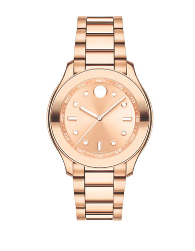 Movado Bold Analog Bold Stainless Steel Rose Goldtone Watch-PINK-One Size