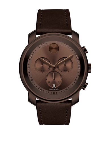 Movado Bold Chronograph Bold Brown IP Leather Strap Watch-BROWN-One Size