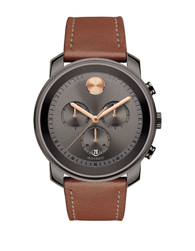 Movado Bold Chronograph Bold Brown IP Leather Strap Watch-GREY-One Size
