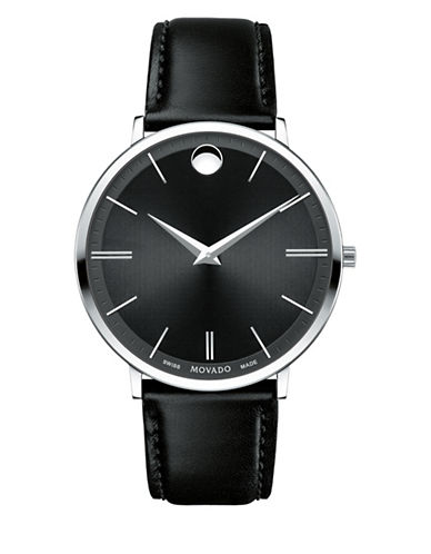 Movado Analog Ultra Slim Stainless Steel Leather Strap Watch-BLACK-One Size