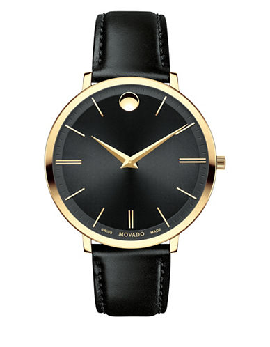 Movado Analog Ultra Slim Goldtone Leather Strap Watch-BLACK-One Size