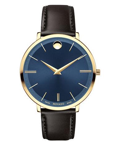 Movado Analog Ultra Slim Goldtone Leather Strap Watch-BLUE-One Size