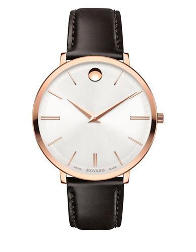 Movado Analog Ultra Slim Rose Goldtone Leather Strap Watch-SILVER-One Size