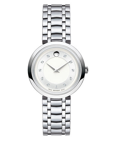 Movado Analog 1881 Pave Stainless Steel Bracelet Watch with 0.042 TCW Diamonds-SILVER-One Size