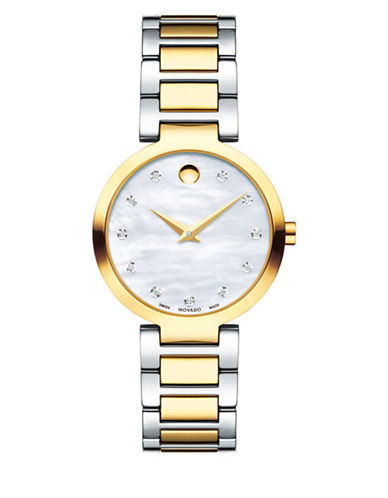 Movado Modern Classic 0.042 Diamond Two-Tone Stainless Steel Link Bracelet Watch-MULTI-One Size