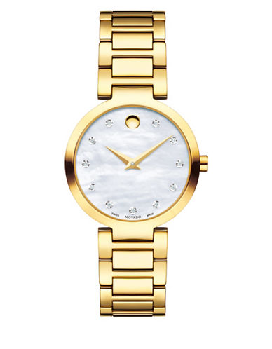 Movado Modern Classic 0.042 Diamond Yellow Gold PVD Stainless Steel Link Bracelet Watch-GOLD-One Size