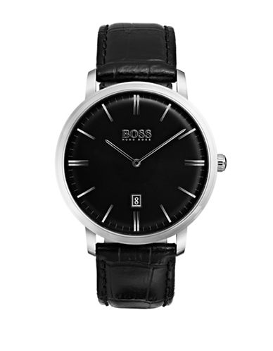Boss Analog Tradition Stainless Steel Leather Strap Watch-BLACK-One Size