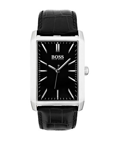 Boss Quartz Greg Rectangular Stainless Steel Watch-BLACK-One Size