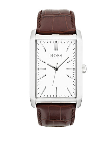 Boss Quartz Onyx Rectangular Stainless Steel Watch-WHITE-One Size