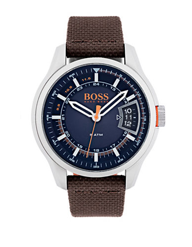Boss Orange Hong Kong Fabric Strap Watch-BROWN-One Size