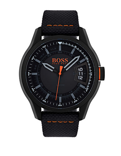 Boss Orange Hong Kong Black IP Fabric Strap Watch-BLACK-One Size