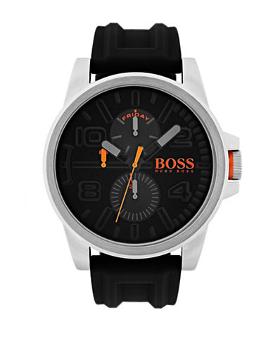 Boss Orange Multifunction Detroit Silicone Strap Watch-BLACK-One Size