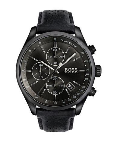 Boss Chronograph Grand Prix Black IP Leather Strap Watch-BLACK-One Size