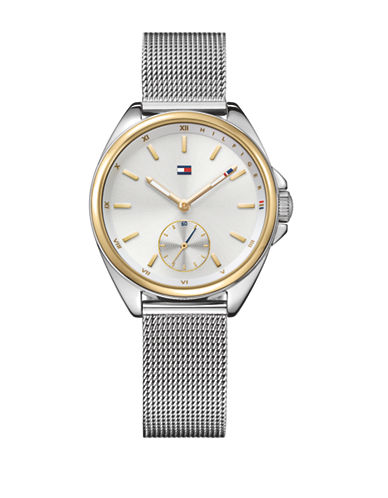 Tommy Hilfiger Silvertone Stainless Steel Chronograph Mesh Bracelet Watch-SILVER-One Size