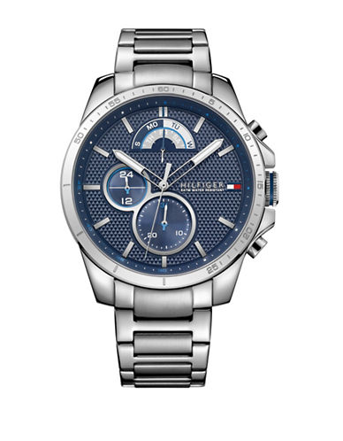 Tommy Hilfiger Stainless Steel Chronograph Link Bracelet Watch-BLUE-One Size