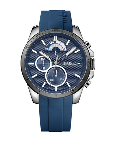 Tommy Hilfiger Stainless Steel Chronograph Navy Dial Rubber Strap Watch-BLUE-One Size