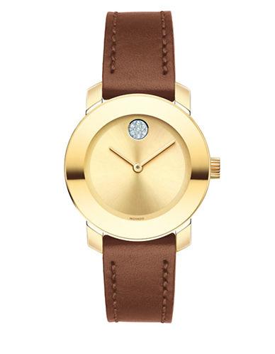 Movado Bold Analog Mid-Size BOLD Goldtone Leather Strap Watch-GOLD-One Size