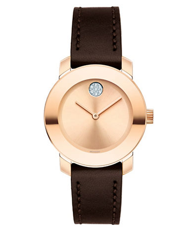 Movado Bold Analog Mid-Size BOLD Rose-Goldtone Leather Strap Watch-ROSE GOLD-One Size