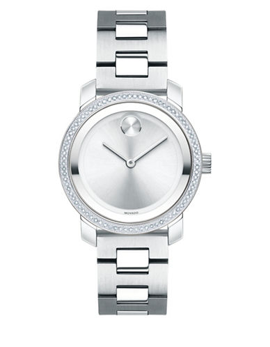 Movado Bold 0.336 Diamond Stainless Steel Link Bracelet Watch-SILVER-One Size