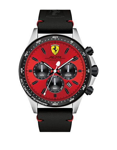 Ferrari Chronograph Pilota Leather Strap Watch-RED-One Size