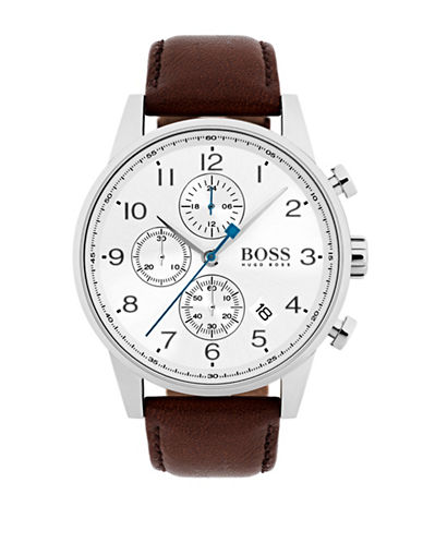 Boss Navigator White Chronograph Leather Strap Watch-BROWN-One Size