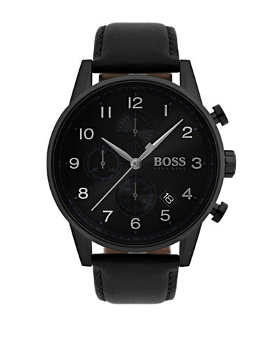 Boss Navigator Black Chronograph Leather Strap Watch-BLACK-One Size