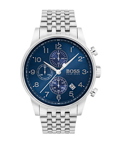 Boss Navigator Chronograph Stainless Steel Bracelet Watch-BLUE-One Size