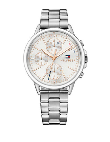 Tommy Hilfiger White Stainless Steel Chronograph Link Bracelet Watch-WHITE-One Size