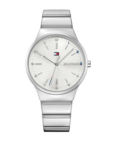 Tommy Hilfiger Stainless Steel Analog Link Bracelet Watch-WHITE-One Size