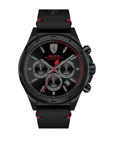 Ferrari Chronograph Pilota Leather Watch-BLACK-One Size
