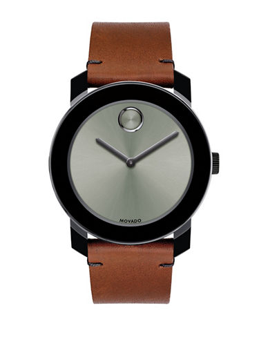 Movado Bold Bold Large Stainless Steel Leather Strap Watch-SILVER-One Size