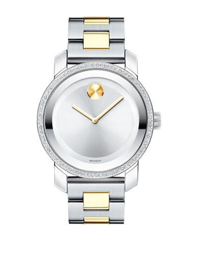 Movado Bold 0.336 Diamond Two-Tone Stainless Steel Link Bracelet Watch-MULTI-One Size