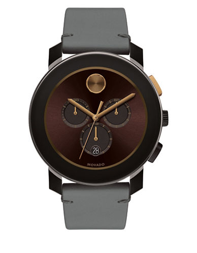 Movado Bold Bold Large Stainless Steel Leather Strap Watch-BROWN-One Size