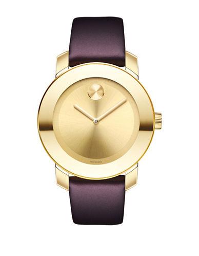 Movado Bold Analog Unisex BOLD Goldtone Leather Strap Watch-GOLD-One Size