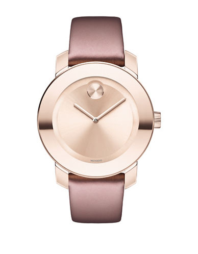 Movado Bold Analog Unisex BOLD Rose-Goldtone Leather Strap Watch-ROSE GOLD-One Size