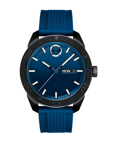 Movado Bold Analog BOLD Sport Blue IP Silicone Strap Watch-BLUE-One Size