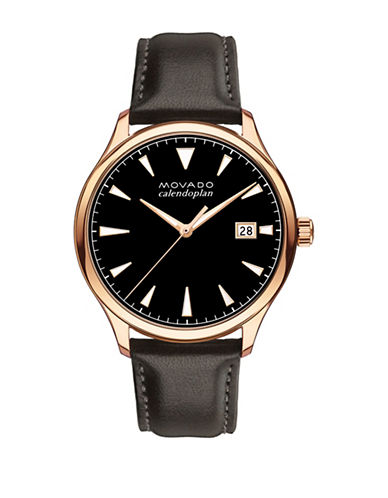 Movado Heritage Series Calendoplan Rose Gold IP Stainless Steel Leather Strap Watch-BLACK-One Size