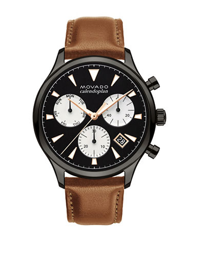 Movado Heritage Calendoplan Chronograph Leather Strap Watch-BLACK-One Size