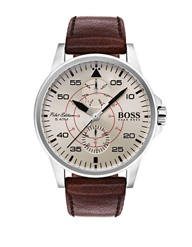 Boss Multi-Function Iconic Leather Strap Watch-WHITE-One Size