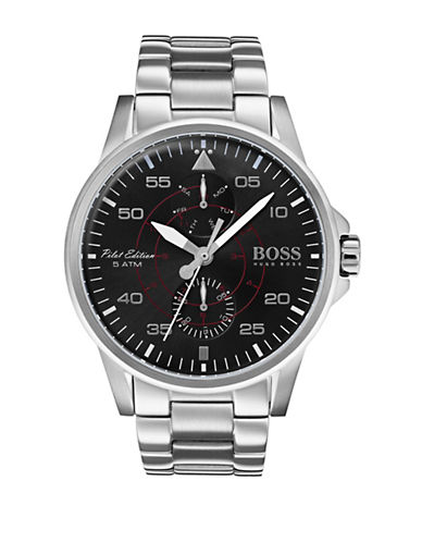 Boss Multi-Function Iconic Stainless Steel Bracelet Watch-BLACK-One Size
