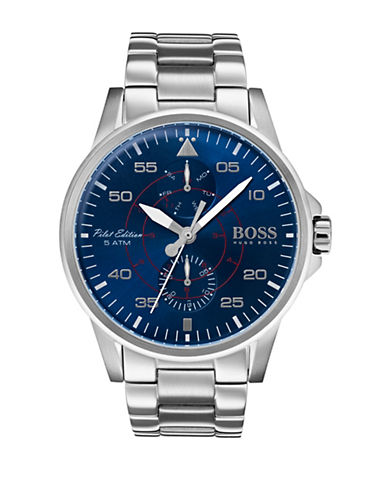 Boss Multi-Function Iconic Stainless Steel Bracelet Watch-BLUE-One Size
