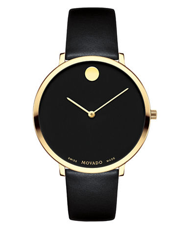 Movado Museum Dial Goldtone Stainless Steel Leather Strap Watch-BLACK-One Size