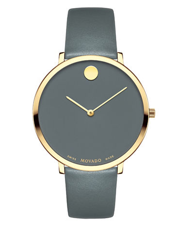 Movado Museum Dial Goldtone Stainless Steel Leather Strap Watch-SILVER-One Size