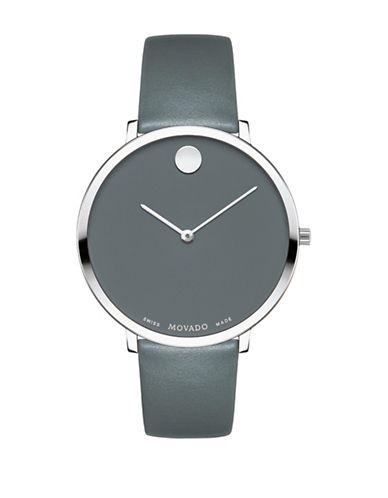 Movado Museum Dial Stainless Steel Leather Strap Watch-SILVER-One Size
